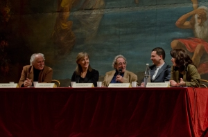 Bacalov alla conferenza di presentazione all'Alfieri