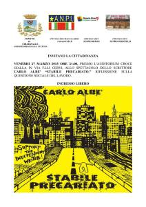 Venerdì 27, ore 21:00, Carlo Albè a Chiaravalle AN), auditorium Croce Gialla